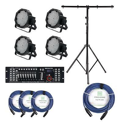 Stage Lighting Kit 144 LED RGBW PAR Can Set USB DMX Controller Mixer Cable Stand • 380£