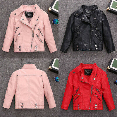 Girls Kids Boys Baby Jackets Coat Leather Zipper Motorcycle Cool Biker Outerwear • 20.88£