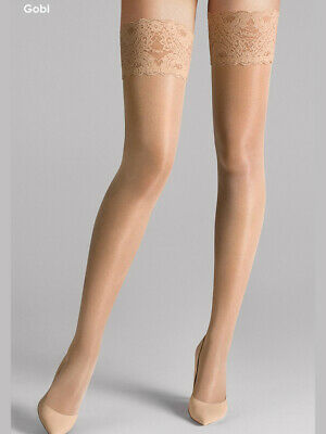Wolford Satin Touch 20 Stay-Ups, High Gloss, Luxury Shine Thigh High Hold Ups • 24.12£