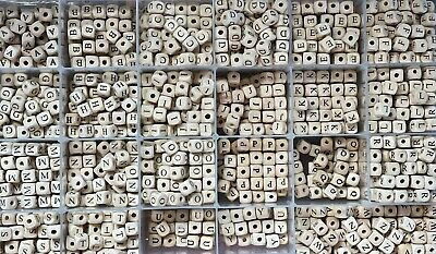 £3.99 • Buy 10mm Full A-Z Alphabet Wooden Letter Beads Baby Teething Dummy Clips Crafts DIY