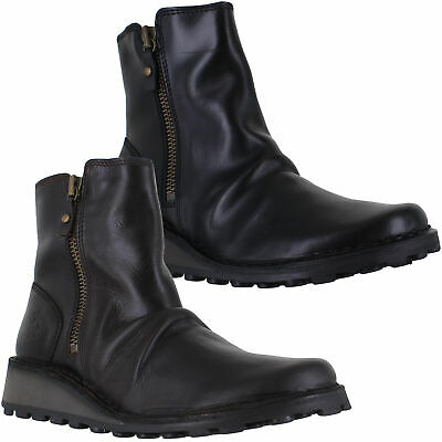 Womens Fly London Mon Wedge Heel Zip-Up Chelsea Leather Ankle Boots Sizes 4 To 8 • 84.99£
