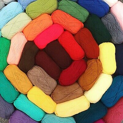 EVERY COLOUR Double Knit DK 100g Ball Acrylic Wool Knitting Yarn HIGH QUALITY • 3.25£