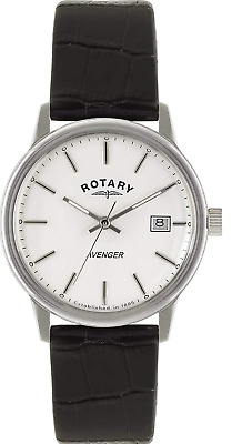 Rotary Men's Quartz Watch With White Dial Analogue Display & Black Leather Strap • 95£