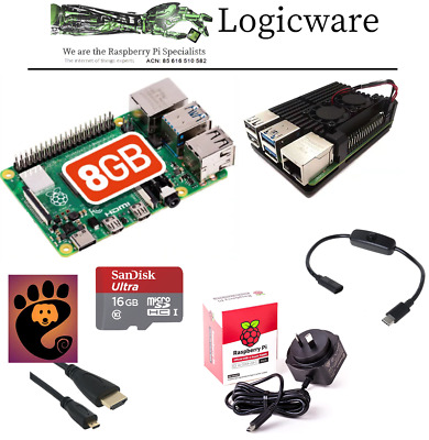 AU199.45 • Buy Raspberry Pi 4 Model B 8GB ARMOR Starter Pack | NOOBS, Official Power Supply