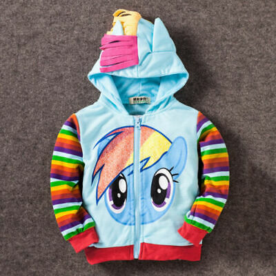 Kids Girls My Little Pony Hoodie Wings Jacket Twilight Rainbow Dash Sweater - • 11.88£
