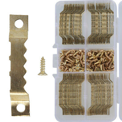 100pcs Saw Tooth Hangers 45mm With Screws Picture Canvas Frame Hanger Brassed UK • 6.99£