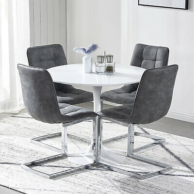 Round Dining Table And 2/4 Chairs Faux Suede Chrome Legs Coffee Kitchen Home • 94.99£