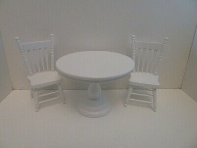 Dolls House Miniature 1:12 Scale Kitchen Dining White Round Table & 2 Chairs Set • 18.14£