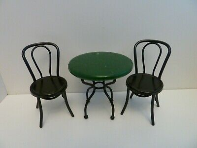 Dolls House Miniature 1:12th Kitchen Café Furniture Marble Effect Table 2 Chairs • 26.18£