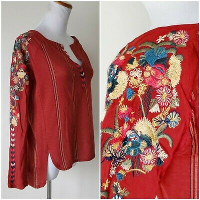 $ CDN40.20 • Buy Tiny Anthropologie Womens Size XS Rust Boho Floral Embroidered Sleeve Blouse Top