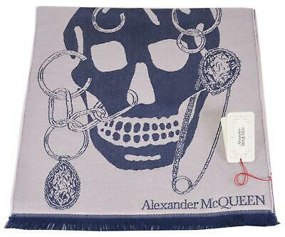 AU198.29 • Buy New Alexander McQueen 579728 Pink Blue CHAINED BIG SKULL Wool Scarf