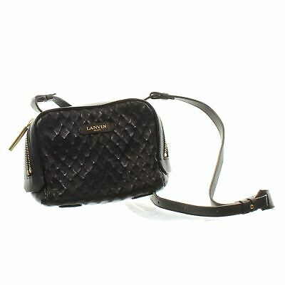 LANVIN Mini Padam Textured Black Leather Crossbody Bag, 6  X 2.5  X 8  • 209.99£