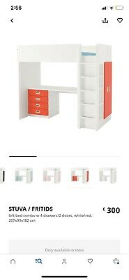 £89.99 • Buy Ikea Bunk Bed With Desk, Shelves, Wardrobe And 3 Draws
