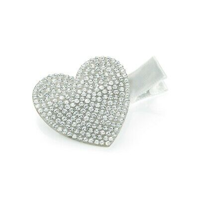 New Silver & Diamante Heart Shape Beak Clip Grip Hair Accessories HA32347 • 1.99£