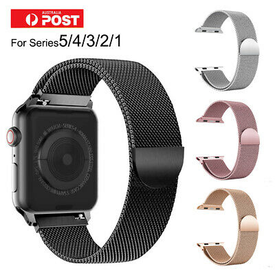 AU10.85 • Buy For Apple Watch Band Series 5 4 3 2 1 Magnetic Stainless Steel Strap 44 42 40 38