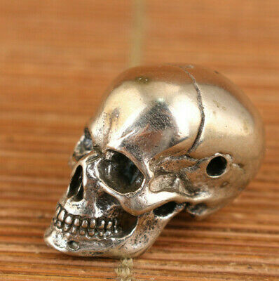 Chinese Old Copper Plating Silver Skull Head Statue Netsuke Collectable  • 0.01£