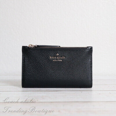 $ CDN75.69 • Buy NWT Kate Spade Jackson Small Slim Bifold Leather Wallet In Black