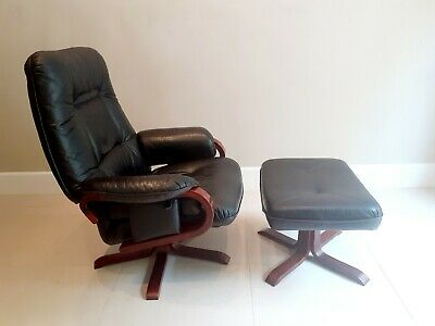 Vintage Retro Mid Century Black Leather Danish Reclining Chair And Stool • 190£