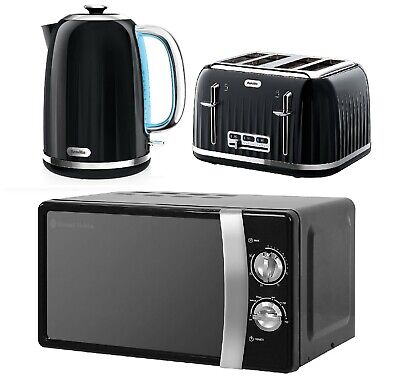 Black Breville Electric Kettle & Toaster Set With Russell Hobbs Microwave  • 179.99£