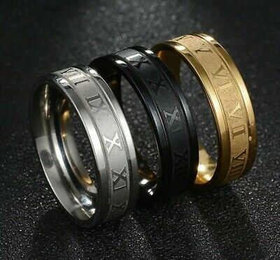 High Quality Roman Numerals 6mm Band Ring Mens Womens  - Black, Gold & Silver • 5.49£