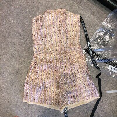 Pretty Little Thing White Bandeau Multi Sequin Stripe Playsuit Size 6  • 7.99£