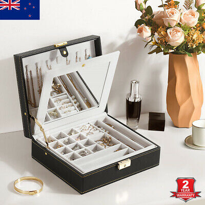 AU35.99 • Buy Large Jewellery Box Necklace Rings Storage Organizer Earring Display Mirror Case