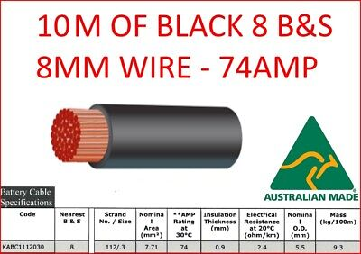 AU30 • Buy 10m METER 8mm 8 B&S SINGLE CORE BLACK INSULATED CABLE COPPER 12V WIRE DC-DC BNS