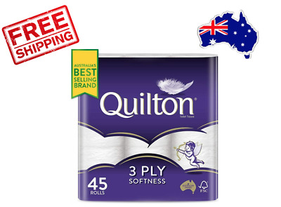 AU24.99 • Buy Quilton 3 Ply Toilet Paper Tissue (180 Sheets Per Roll, 11x10cm), Pack Of 45