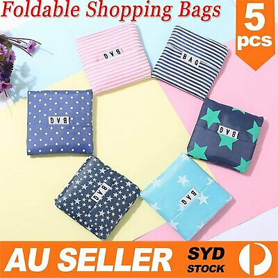 AU9.59 • Buy 5pcs Reusable Foldable Recycle Grocery Shopping Bag Carry Bags Tote Handbags AU