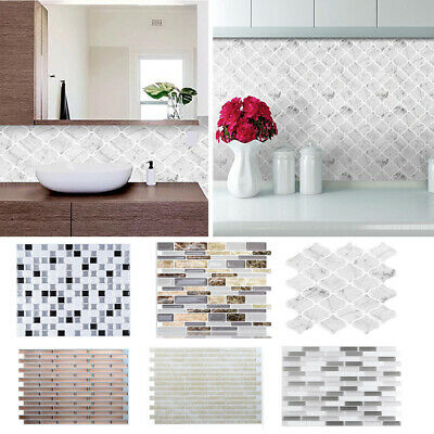 3D Kitchen Tile Stickers Bathroom Mosaic Tiles Sticker Self-adhesive Wall Cover • 9.95£