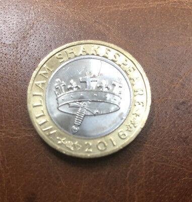 Rare, William Shakespeare 2016 £2 Coin, The Hollow Crown • 1.32£