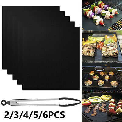 AU9.49 • Buy BBQ Grill Mat Reusable Bake Sheet Resistant Teflon Meat Barbecue Non-Stick AU