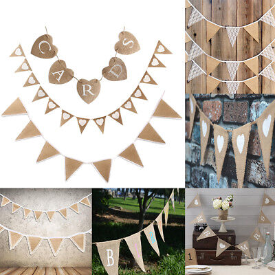 Hessian Bunting Flags Banner Rustic Burlap Banner Wedding Christmas Party Decor • 3.99£