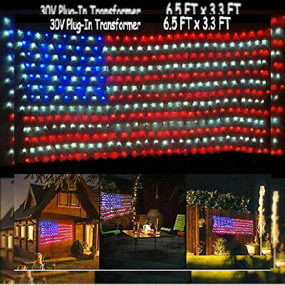 Jxystore American Flag Net Lights 6.5FT X 3.3FT 420LEDs String Red,blue,white  • 39.48£