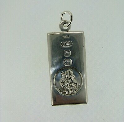 Sterling Silver Small St Christopher Ingot Pendant With Feature Hallmark • 23.99£
