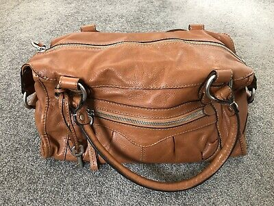 FOSSIL Tan Leather Bowling Shoulder Bag Excellent Condition • 14.50£