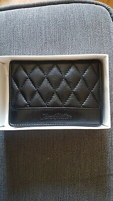 JANE SHILTON BLACK LEATHER QUILTED CARD/PHOTO WALLET NEW IN BOX Unwanted Gift • 10£