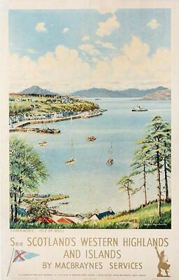 Vintage Tobermory Isle Of Mull Scotland MacBraynes Ferry Poster Print A3/A4 • 5.13£