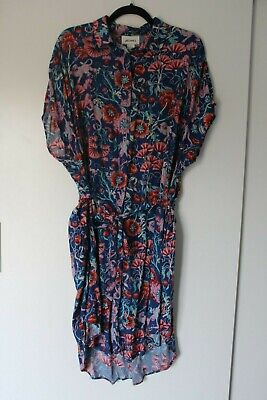Monki Oversized Shirt Dress With Belt Blue Tropical Print With Pockets, Size S • 6£