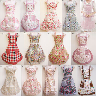 £6.99 • Buy English Vintage Style Aprons Floral Cotton Outfit Shabby Chic Retro Pretty Pinny