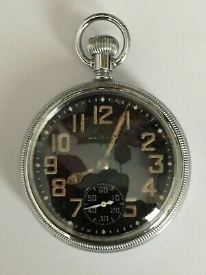 Wwii Waltham  Military Black Faced Pocket Watch With Inner Second Hand 9 Jewels • 82£