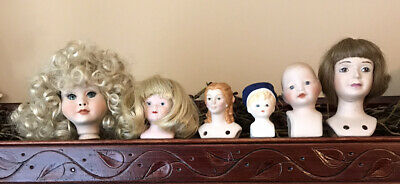 """$ CDN20.89 • Buy 6 VTG Small Porcelain Doll Heads Parts 3 1/4"""" Largest Wigs Molded Hair"""