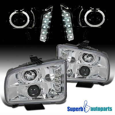 $130.98 • Buy For 2005-2009 Ford Mustang LED Halo Projector Headlights Lamps Pair