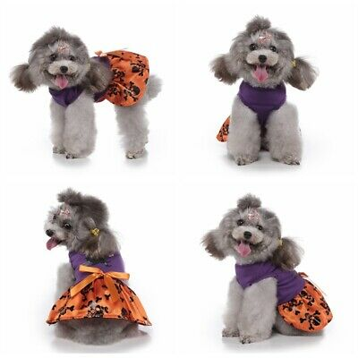 Halloween Dogs Princess Dress Puppy Lace Skirts Pet Cosplay Suit Clothes Apparel • 6.99£