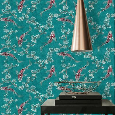 £20.99 • Buy Asian Fusion Koi AS Creation Wallpaper Teal 37462-3 Japanese Fish Cherry Flowers