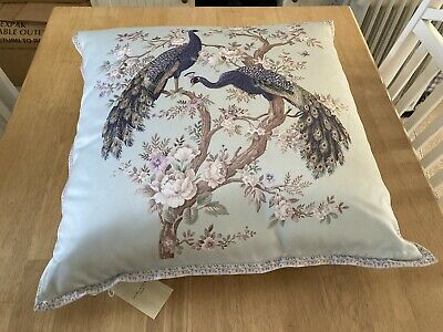 BNWT LAURA ASHLEY LARGE BELVEDERE DUCK EGG EMBROIDERED PEACOCK CUSHION 50cmx50cm • 39.99£