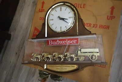 $ CDN433.35 • Buy SWEET Vintage BUDWEISER CLYDESDALE Horse Beer Sign W Clock Item 023-061 W BOX