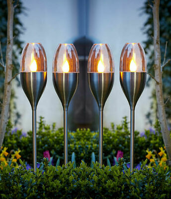 £17.99 • Buy Solar Powered Flame Effect LED Stake Lights Outdoor Garden Lamps Flickering