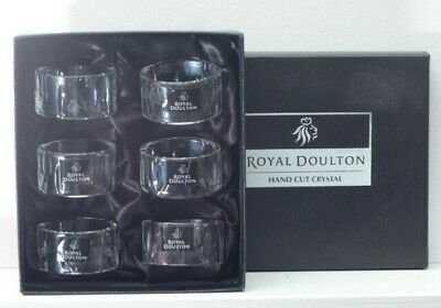 Royal Doulton Hand Cut Crystal Dorchester Napkin Rings (Box Of 6) – Never Used • 17.80£