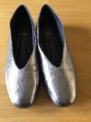 Marks & Spencer Pewter Leather High Vamp Pump Shoes Sz 6 391/2 BNWT • 8£